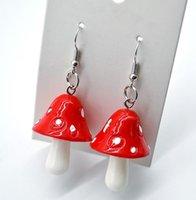 20 Pair / lot Moda Kobiety Słodkie Świeże Handmade Plastic Symulacja Grzyby Długi Wisiorek Kolczyk Akcesoria Biżuteria Prezent