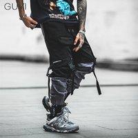 Guyi тьма для мужчин повседневная модная уличная одежда сшивание цветных пробега, бегуны хип-хоп длинные брюки мужчины эластичные талии ленты грузовые штаны T200704