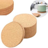 Doğal Kahve Fincanı Mat Yuvarlak Ahşap Isıya Dayanıklı Mantar Coaster Mat Çay İçecek Pad Masa Dekor Toptan YYF3721