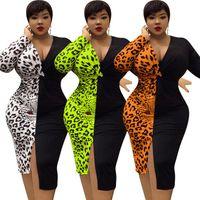Leopar Patchwork Seksi Bayan Elbiseler V Boyun Uzun Kollu Bölünmüş Bodycon Bayanlar Giyim Sonbahar Artı Boyutu Kadın Tasarımcı Günlük Elbiseler