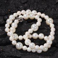 Collier européen et américain Hip-Hop Simple Perle Collier 6mm 8mm 10mm de perles de perles mixtes Hommes et femmes Colliers de mode multi-taille polyvalente