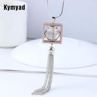 Kymyad Square Long Colar Mulheres Tassel Correntes Colares Pingentes Bijoux Cristal Grânulos Colares Para As Mulheres Acessórios de Jóias1