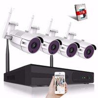 무선 카메라 키트 4CH 5MP 보안 시스템 CCTV WIFI NVR 키트 IR 야외 야외 비전 홈 비디오 감시