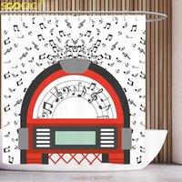 بوليستر دش الستار Jukebox الكرتون حزب الموسيقى العتيقة القديمة خمر مربع الرجعية مع الملاحظات الفني الأحمر الأسود الرمادي والأبيض