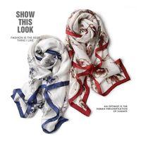 Écharpes de soie longues pour femmes Mode Floral Design Hijab Echarpe Rouge et bleu Taille de 180cm x 90cm Scrafs1