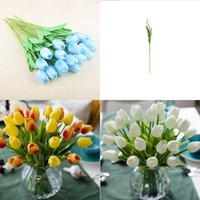 PU Yapay Çiçekler Ipek Laleler Gerçek Dokunmatik Çiçekler Mini Lale Düğün Dekoratif Buket Düğün Süslemeleri Ev Dekor LXL732 35 N2
