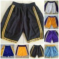 Basketbol Şort Sarı Mor Siyah Mavi Beyaz Vintage Nefes Pantolon Sweatpants Klasik Şort Şehir Dikişli