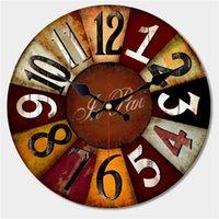 ساعات الحائط رث شيك، مجردة الساعات، ساعة خمر، ساعات الحائط ديكور المنزل، ساعة كبيرة
