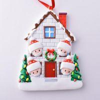 Adorno de Navidad 2020 Cuarentena PERSUALIZADA PERSONALIZADA DE SOBREVIVOR Decoraciones de resina con máscara DIY Árbol de Navidad Colgante Colgante GGA3814