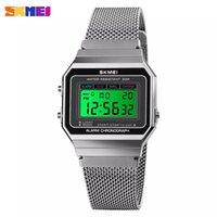 SKMEI 1639 LED Watch Digital Moda Eletrônica Square Eletrônica relógios de pulso 3bar Resistente a água de aço malha de malha esportes relógios