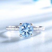 Creado Sky Blue Topaz Gemstone 925 Anillos de plata esterlina para mujeres Bandas de boda Regalo de compromiso Joyería fina Regalo de fiesta