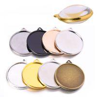 30mm doppelseitige runde leere Sublimation Anhänger DIY Fotos Schmuck Anhänger Tablett Anhänger Keychain Zubehör mit 2 Glasplatten XD24206
