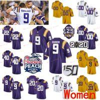 스티치 된 사용자 정의 1 JA'Marr Chase 10 Stephen Sullivan 2 Justin Jefferson 20 Billy Cannon Lsu Tigers College Women Jerseys