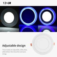US-lager Dubbelfärg LED taklampor Blå och vit 12 + 6W Ytmonterad LED-panel Ljusdämplig downlight