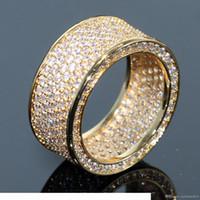 Impresionante marca de alta calidad Joyería de lujo de alta calidad 925 Sterling Silvyellow Gold Pave Pave enternity Topaz CZ Diamond Circle Band Anillo