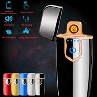 Mini Dokunmatik Algılama Çakmak USB Metal Şarj Edilebilir Rüzgar Geçirmez Alevsiz Elektrikli Çakmak Çift Arc Elektronik USB Şarj Çakmak