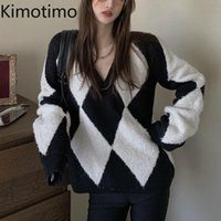 Kimotimo V Neck Sweater mulheres 2020 Outono Pullovers Argyle Inglaterra estilo coreano elegante casual harajuku camisola casual