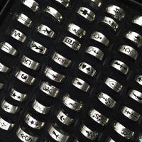 Горячая распродажа 50 шт. / Лот Нержавеющая сталь Полое кольцо Мода Серебряный Цвет Палец Кольцо Ювелирные Изделия Для Мужчины Женщины Подарок Смешанный стиль