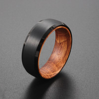 Bague en carbure de tungstène noir de 8 mm avec bande de mariage de Whiskey Barel Hommes