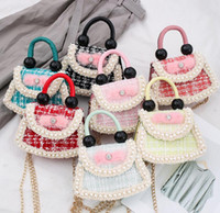 2021 Neue Mode Mini Kindertaschen All-Match Fan-förmige Perlenhandtasche Weibliche Prinzessin Fan-Schulter-Diagonal-Tasche