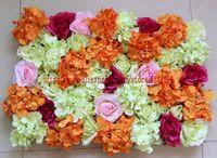 10PCS / LOT mixcolor الحرير الاصطناعي ارتفع والزهور hydrange جدار الزفاف خلفية الديكور الأقواس TONGFENG