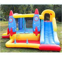 Rocket Inflável Bouncer Slide Combo Castelo Jumper Garden Supplie Bounce Casa com Bounce Blower Outdoor Rockets Slides Secos w / Ball Pop Pool para Crianças