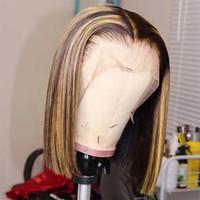 OMBER 13X4 Brezilyalı İnsan Saç Dantel Ön Peruk Modern Gösterisi 613 Sarışın Dantel Ön Peruk İnsan Saç Kısa Bob Saç Dantel Peruk