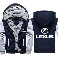 Uomini Lexus Car Print Felpe con cappuccio Inverno Addensare Calda Cotton Cotton Zipper Camouflage Giacca cappotto per uomo raglan