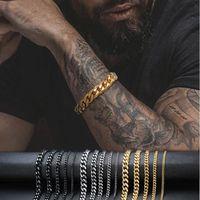 3mm-11mm mens 14k bracelete de ouro bracelete mulheres link cubano correntes de aço inoxidável braceletes de ouro prata preta cor pulseira pulseira de pulso
