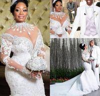 Tallas grandes Vestidos de novia de la sirena africana Árabe africano Cuello alto de la manga larga de la manga larga Cuerda de cordones Trane de la corte Vestidos de novia de lujo