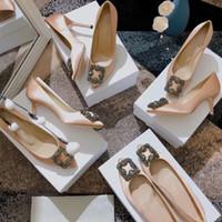 Умида бренд женские насосы натуральные кожаные насосы на высоких каблуках Направленные носки мелководье обувь Кристаллическая пряжка Обувь реальная шелковая свадебная обувь