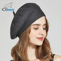 Шапочки / черепные колпачки Зимние шляпы льда для женщин Осень вязаные шерстяные художники моды сплошной цвет леди E-MX181331
