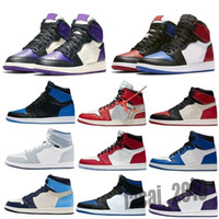 NIKE air Jordan 1 RETRO 2020 Jumpan Low 1 1S Chaussures d'athlétisme Top Og Toe Toe Court Purple Sp Travis Scotts Hommes Femmes Sneakers EUR 36-46 sans boîte F9