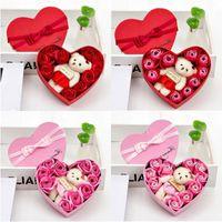 2020 Valentinstag Tag 10 Blumen Seife Blume Geschenk Rose Box Bären Bouquet Hochzeit Dekoration Geschenk Festival Herz-förmige Kiste