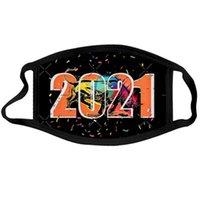 2021 Felice Anno Nuovo Maschere di Natale mascherina mascherine di stampa del cotone traspirante riutilizzabile della moda di New Anno maschera YYA556