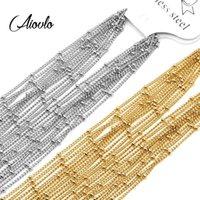 Cadenas Aiovlo 10pcs / lote Ancho de la cadena de cuentas de acero inoxidable de 1,5 mm para los hallazgos de la joyería de bricolaje que hacen los accesorios de materiales1