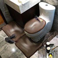 Высокое Качество L Письмо Баня Маты Мода Три Части Костюм Туалет Сиденье Туалетные Чехлы Прилив Цветы Узор Дверь Коврик