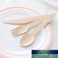 10 قطعة / الحزمة الخيزران السكاكين خشبية السكاكين القابلة للتحلل الشوكات الملاعق المتاح المائدة مجموعة مطبخ الطعام بار المائدة