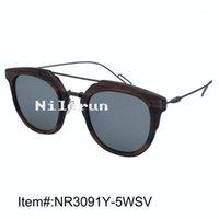 النظارات الشمسية ماجراي المعابد المعدنية المزدوج أنف الجسور ضخمة جولة مرآة فضية عدسة الأبنوس الخشب نظارات 1