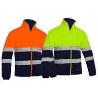Mens dois tons de alta visibilidade reflexivo polar velo jaqueta jaqueta de segurança quente trabalho wear laranja inverno