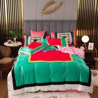 Green Designer Bettwäsche Sets Warme Samt Queen Bett Bettdecken Sets Queen Size Kissenbezüge Bettwäsche Bettwäsche Bettwäsche Bettdecken