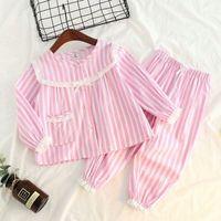 Yeni 2 adet / takım Çocuk Pijama Bebek Körfezi Kızlar Dantel Pijama Uzun Kollu Eğlence Giyim Çocuk Pijama Kız Giyim Stil 2-8 Yıl Y200704