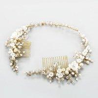 Saç Klipler Barrettes SLBLider El Yapımı Kristaller Rhinestones Tatlısu Inciler Çiçek Düğün Tarak Kafa Gelin Aksesuarları Kadınlar Jewelr
