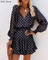 عارضة فساتين النساء أزياء أنيقة نقطة طباعة الخامس الرقبة البسيطة اللباس ليوبارد الكشكشة فانوس كم