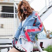 2020 AutumnFashion Yeni Gevşek Piercing Mektup Dikiş Yıkanmış Delik Şerit Denim Ceket Nakış Kot Ceket Kadınlar 4361