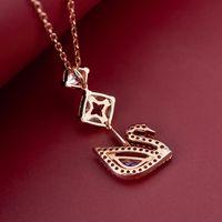Lujo nuevo largo cuadrado diamante rosa cisne collar azul diamante colgante hembra swarovski elementos cristal clavícula cadena al por mayor moda de la moda