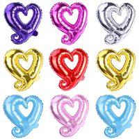 18 zoll Haken Herz Form Aluminiumfolie Ballons Aufblasbare Hochzeitsdekoration Valentinstagtage Geburtstag Baby Shower Air