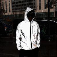 Neue Männer Nacht glänzend volle reflektierende Hip-Hop-Kapuzenjacke Herren Harajuku Streetwear Lose Windjacke-Jacken Plus Größe 4XL X1217