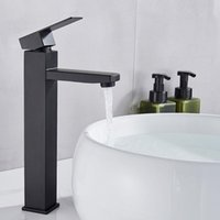 Banyo Lavabo Bataryaları Siyah Boya Kare Havzası Musluk Tek Kolu Lavabo Mikser Dokunun 77UC