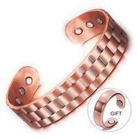 Vinterly Compre 1 ganhe 1 presente puro pulseira de cobre homens saúde energia magnética pulseira de cobre largo ajustável punhos para homens y1126